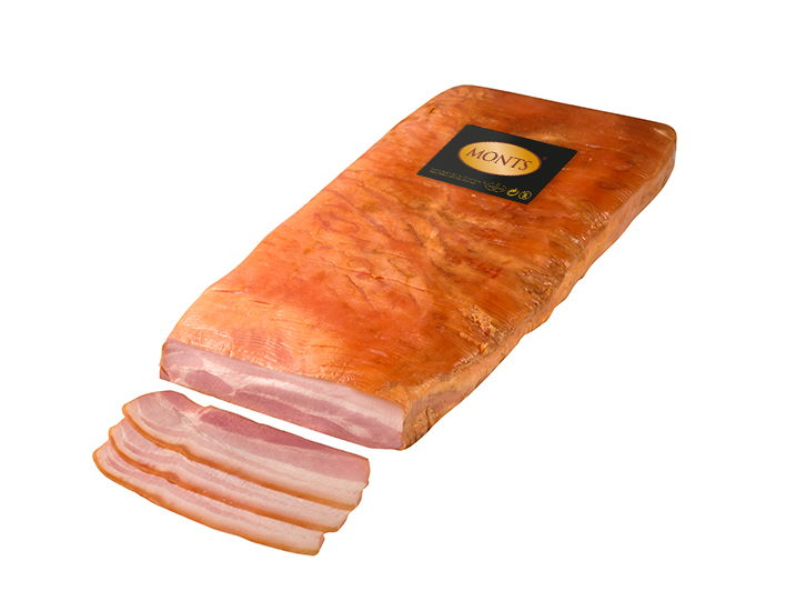 Sliced bacon with skin